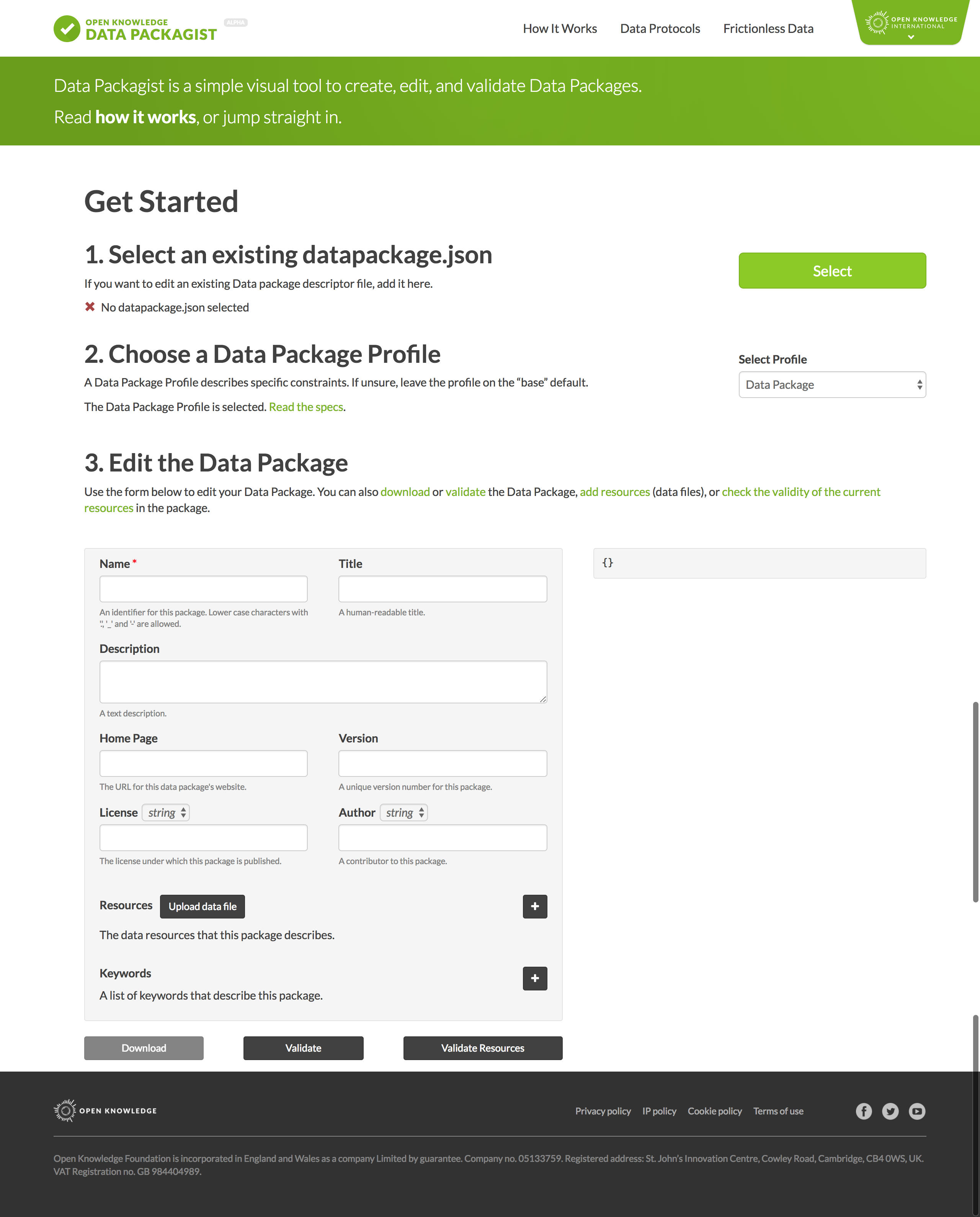 screen grab of the Data Packagist app